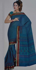 Blue  Colour  Cotton  Material Sarees : Teacher's Day Collection -  YF-11716