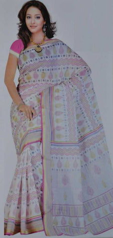 White and Pink  Colour  Bombay Cotton  Material Sarees : Office Wear Collection -  YF-13874