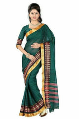 Bottle Green Color Cotton Casual Party Wear Sarees : Bhavina Collection  YF-29883