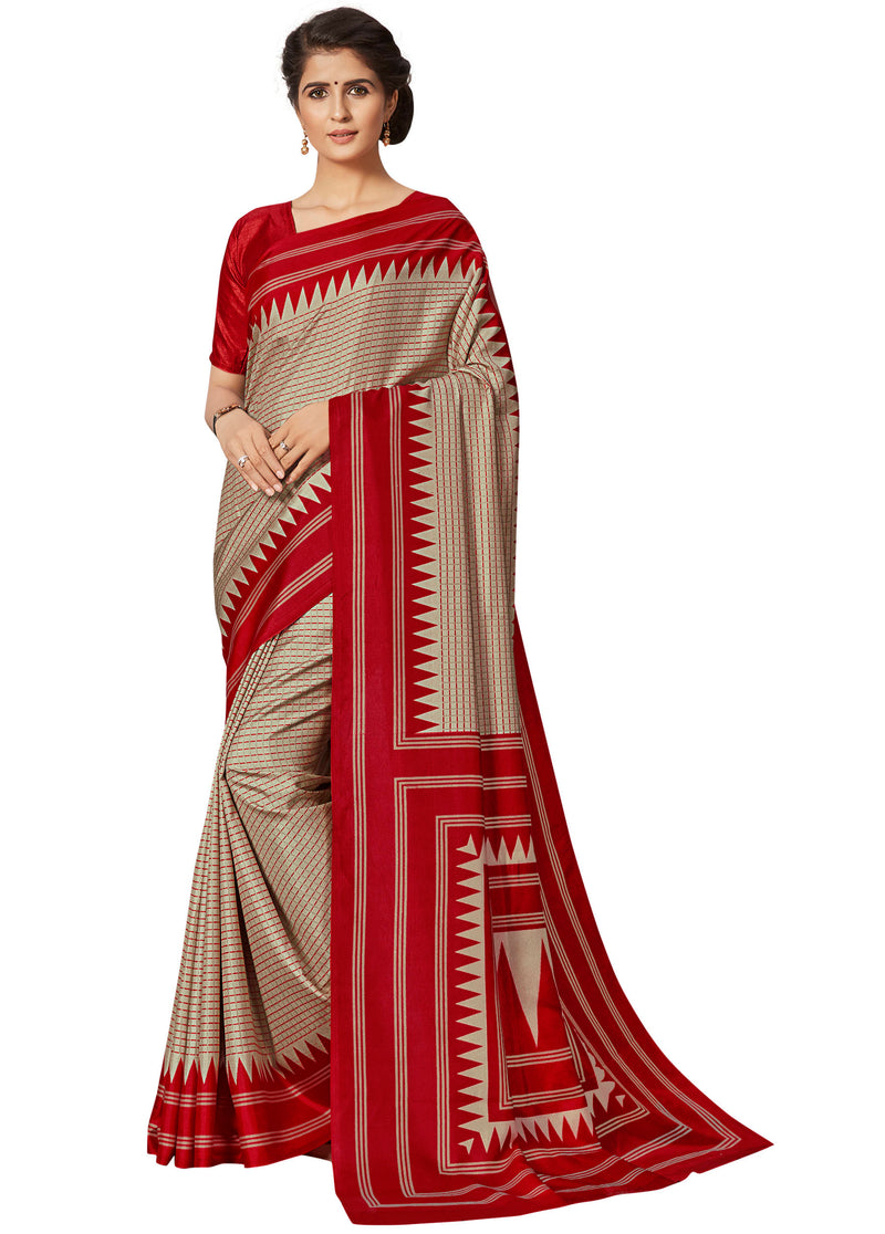 Cream & Red Color Crepe Printed Office Wear Sarees NYF-7688