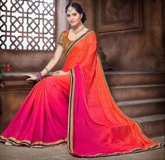 Orange & Pink Color Wrinkle Chiffon Designer Festive Sarees : Niyara Collection  YF-51806