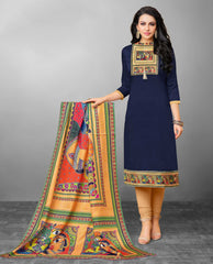 Navy Blue & Cream Color Art Silk UnStitched Dress Material : Stavita Collection YF-61511