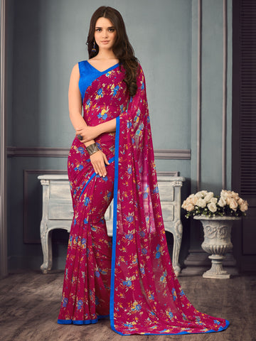 Magenta Color Georgette Floral Print Sarees : Gulabo Collection YF-68524