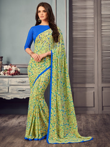 Lime Yellow Color Georgette Floral Print Sarees : Gulabo Collection YF-68526