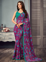 Magenta Color Georgette Floral Print Sarees : Gulabo Collection YF-68533