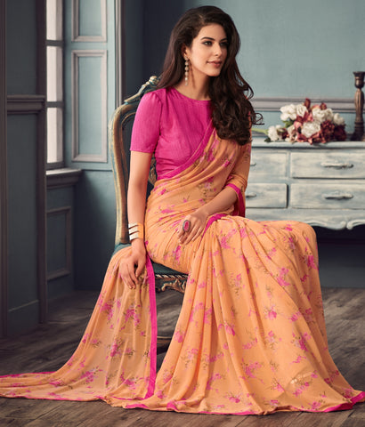 Light Orange Color Georgette Floral Print Sarees : Gulabo Collection YF-68535