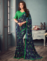 Blue & Green Color Georgette Floral Print Sarees : Gulabo Collection YF-68537