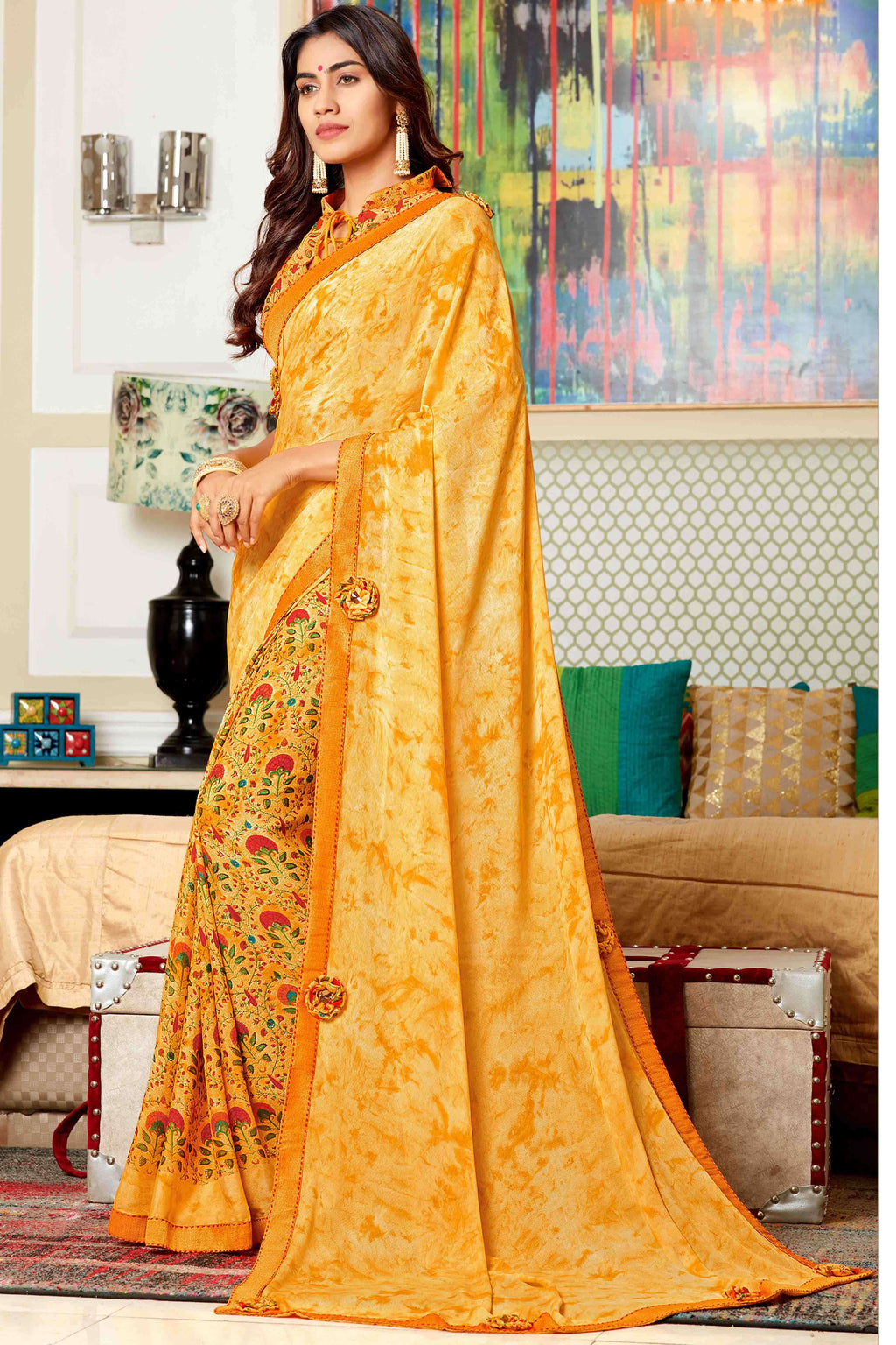 Yellow Color Georgette Printed Party Wear Sarees NYF-9351