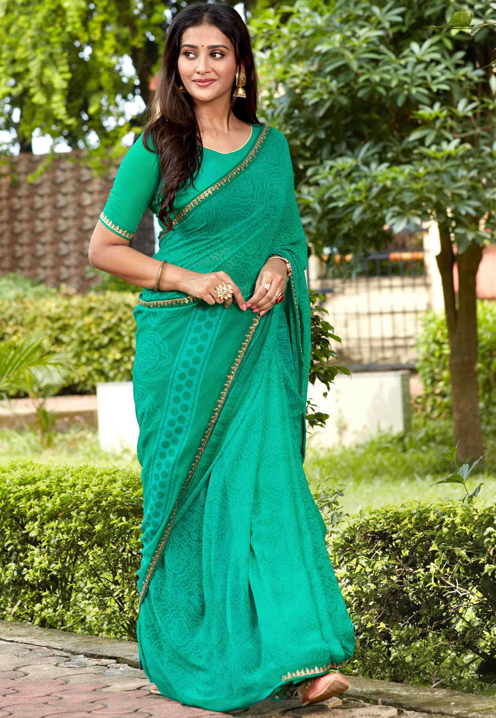 Green Color Georgette Printed Party Wear Sarees NYF-9346