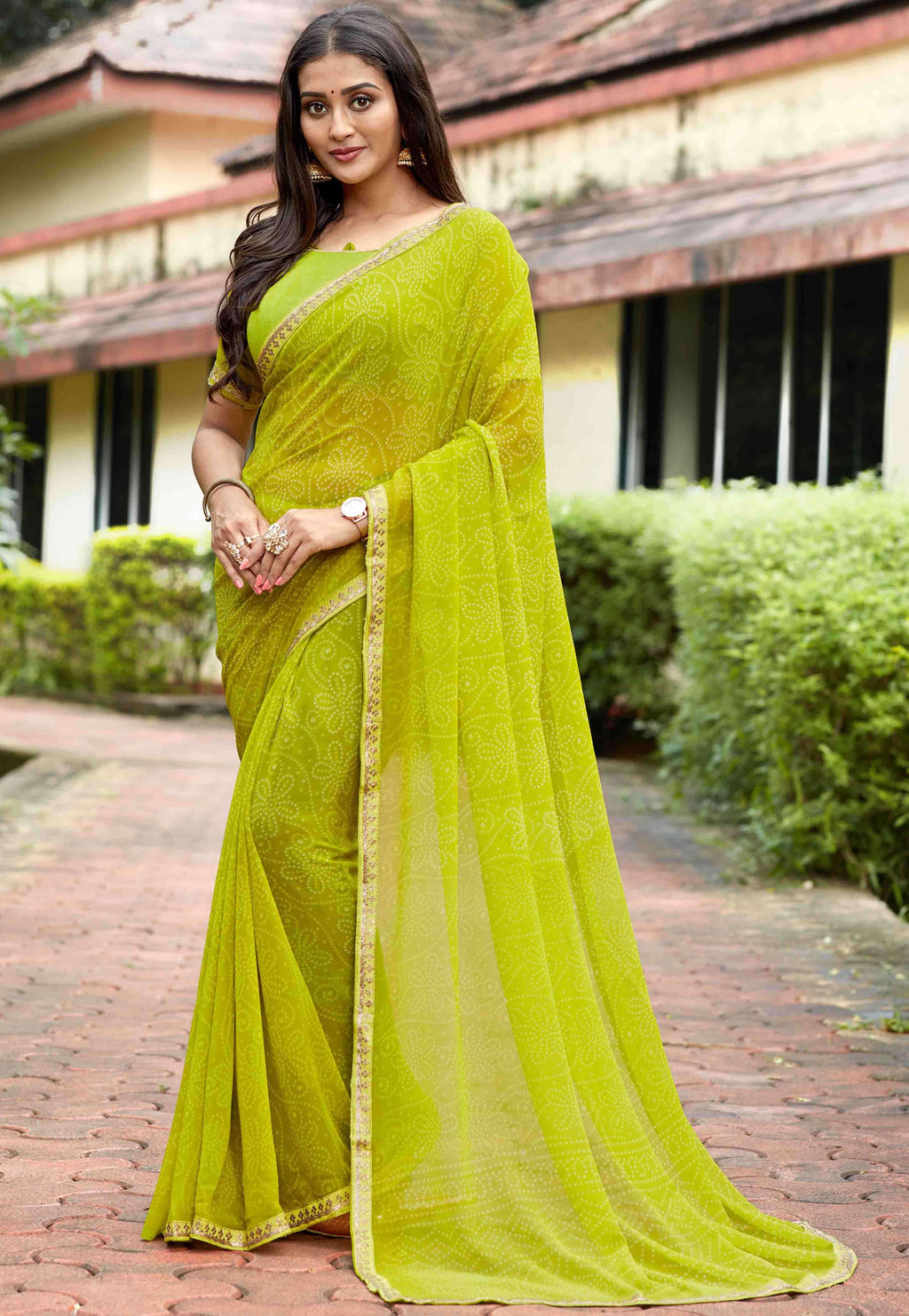 Parrot Green Color Georgette Printed Party Wear Sarees NYF-9339