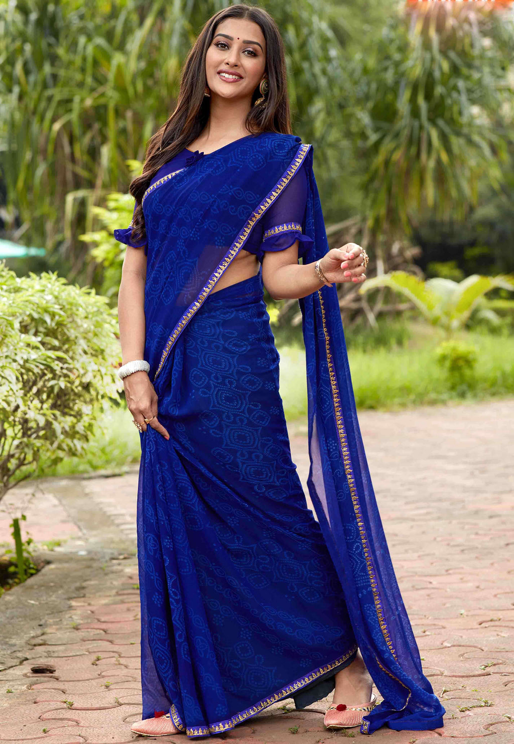 Blue Color Georgette Printed Party Wear Sarees NYF-9340