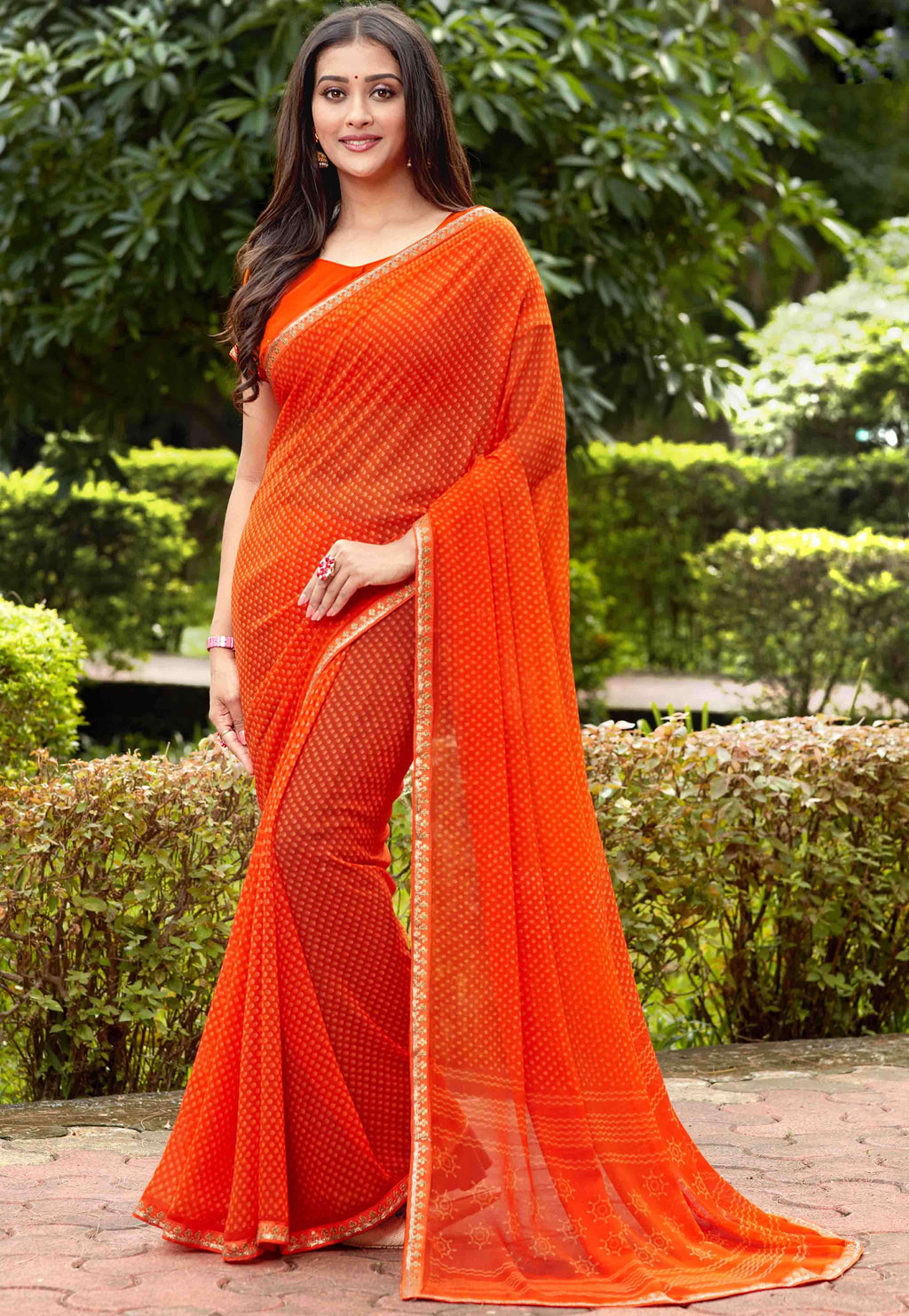 Orange Color Georgette Printed Party Wear Sarees NYF-9341