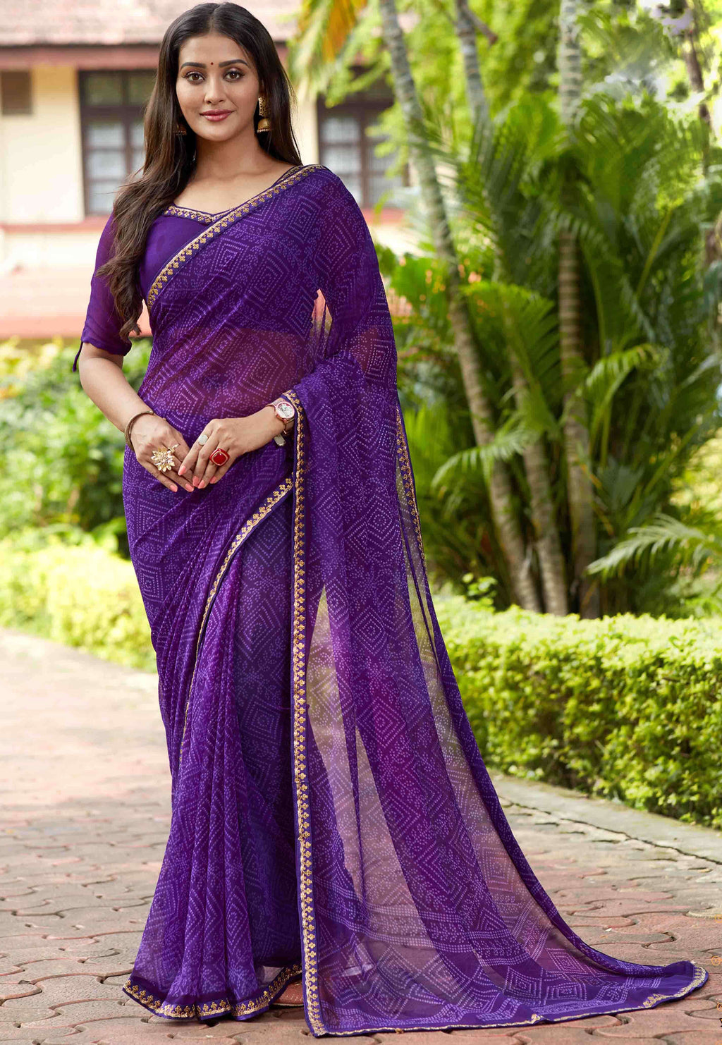 Purple Color Georgette Printed Party Wear Sarees NYF-9342