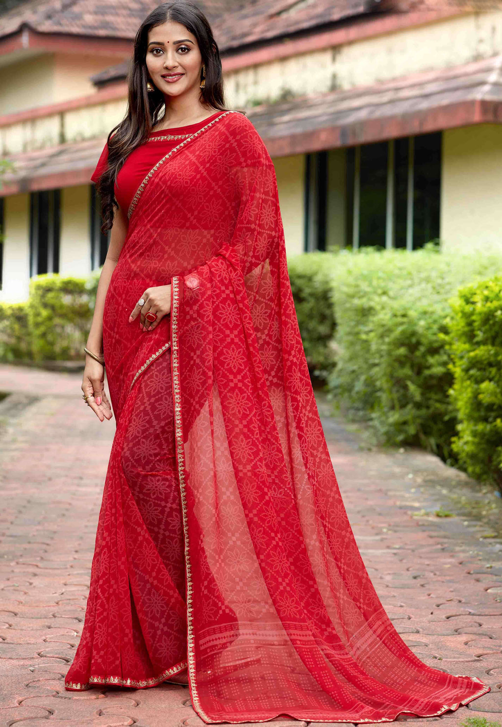 Red Color Georgette Printed Party Wear Sarees NYF-9343