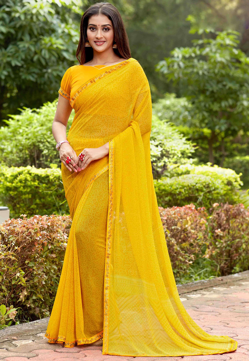 Yellow Color Georgette Printed Party Wear Sarees NYF-9345