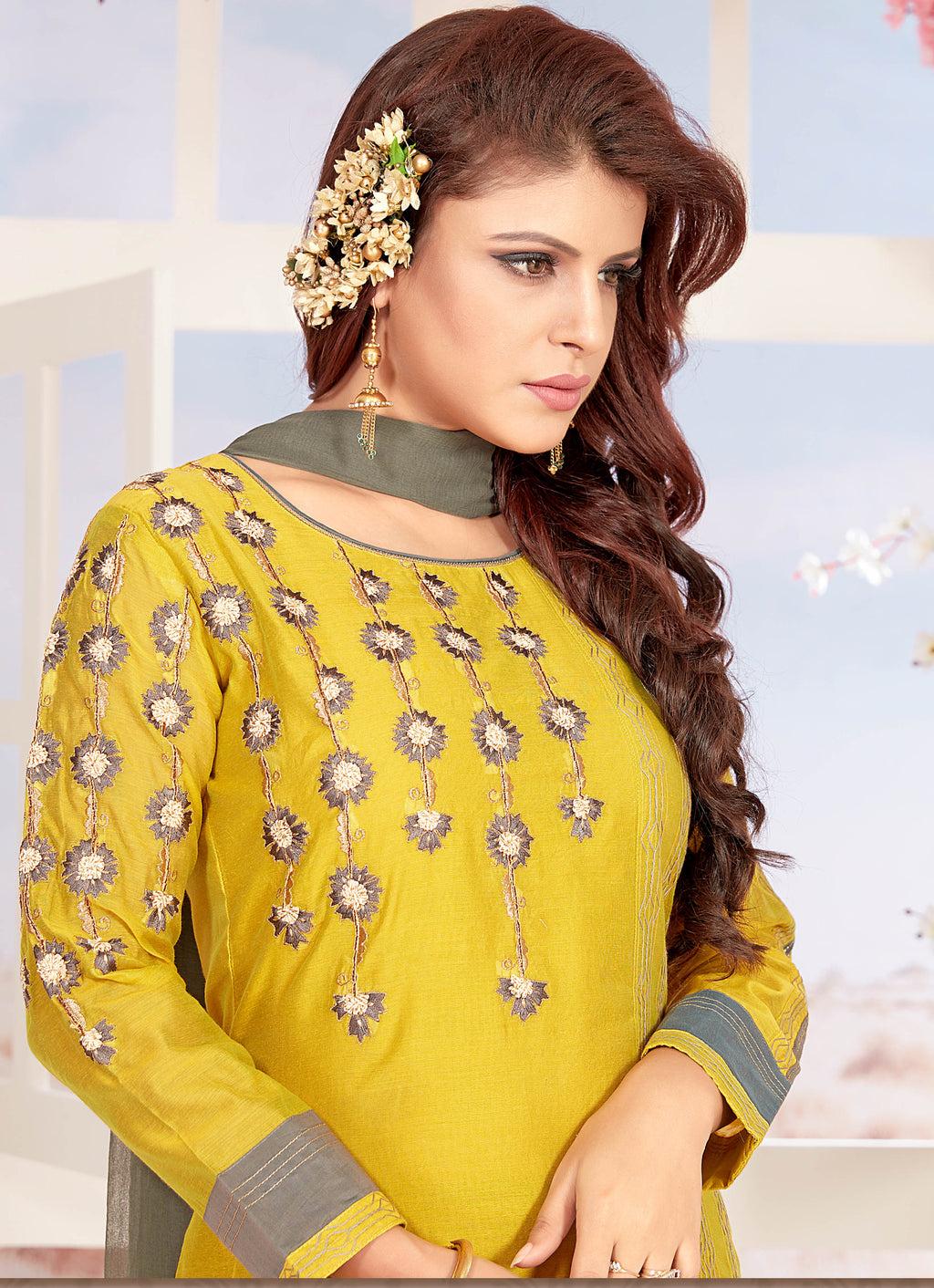 Yellow Color Chanderi Readymade Party Wear Straight Suits NYF-9652