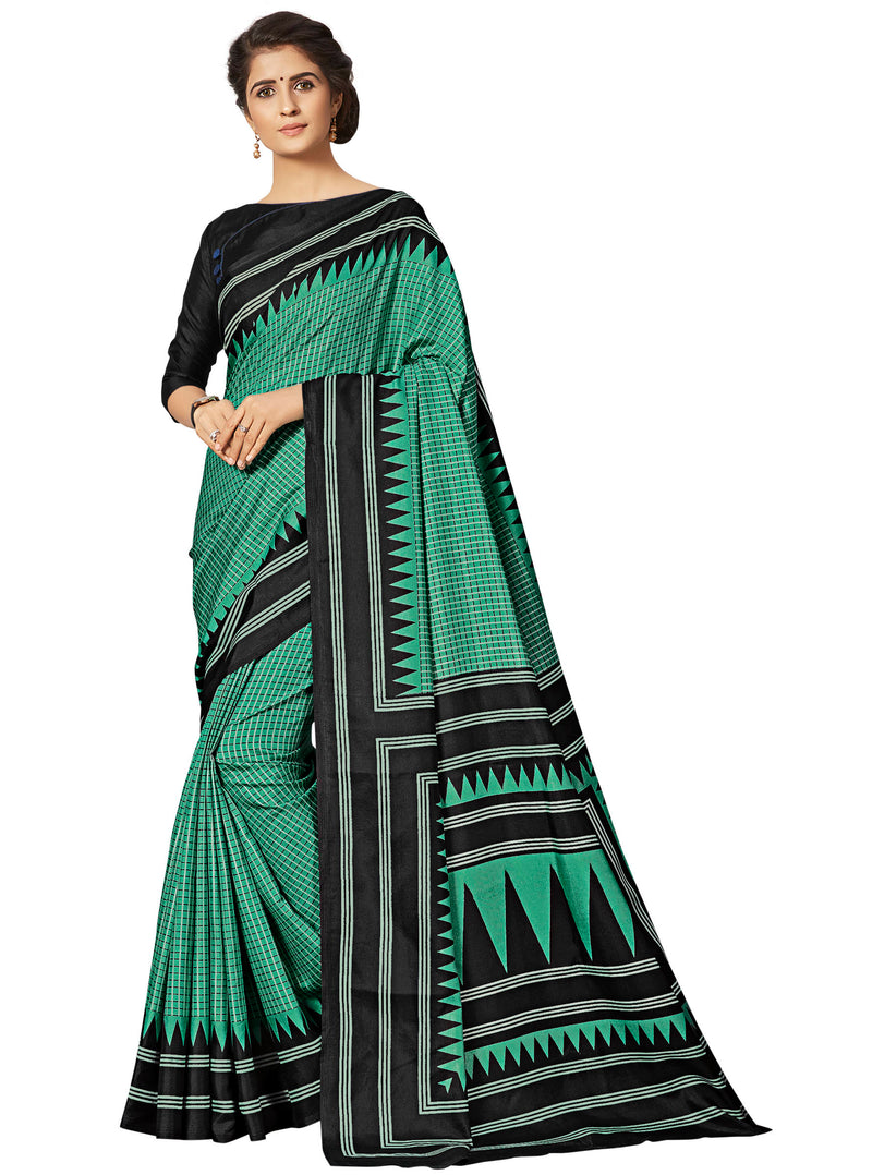 Green Color Crepe Printed Office Wear Sarees NYF-7689
