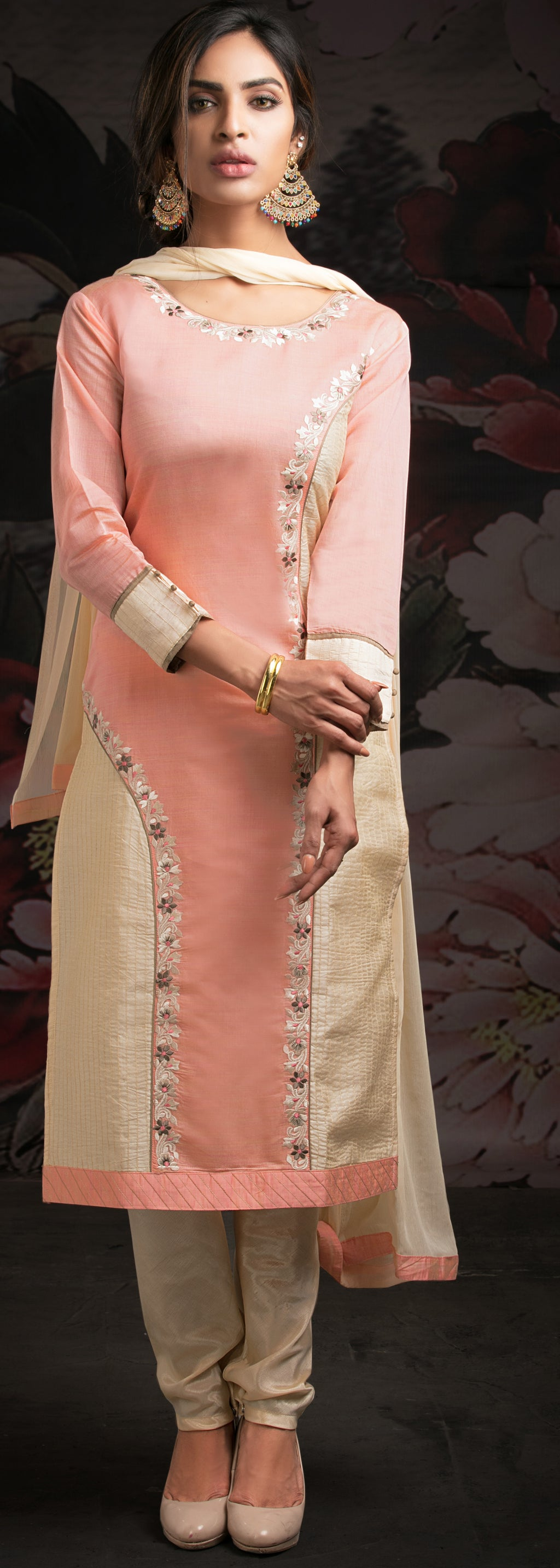 Pink Color Chanderi Readymade Party Wear Straight Suits NYF-9619