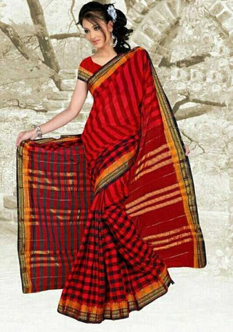Red & Black Color Cotton Casual Party Wear Sarees : Bhavina Collection  YF-29884