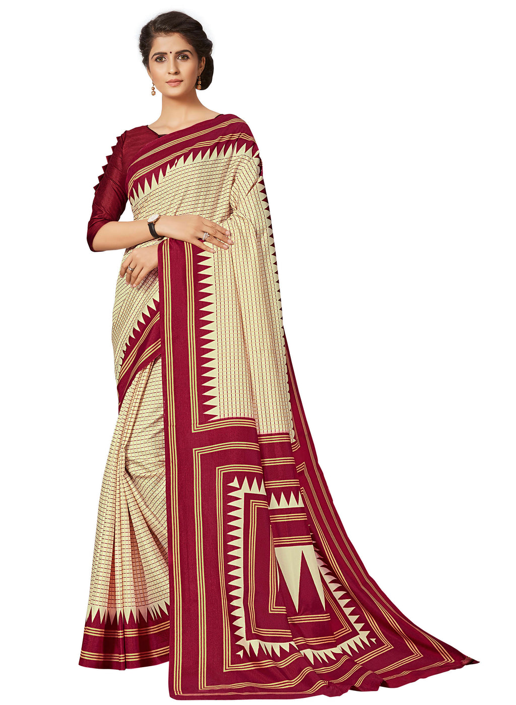 Cream & Red Color Crepe Printed Office Wear Sarees NYF-7690
