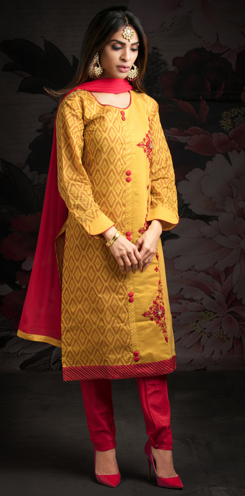 Yellow Color Chanderi & Jacquard Readymade Party Wear Straight Suits NYF-9589