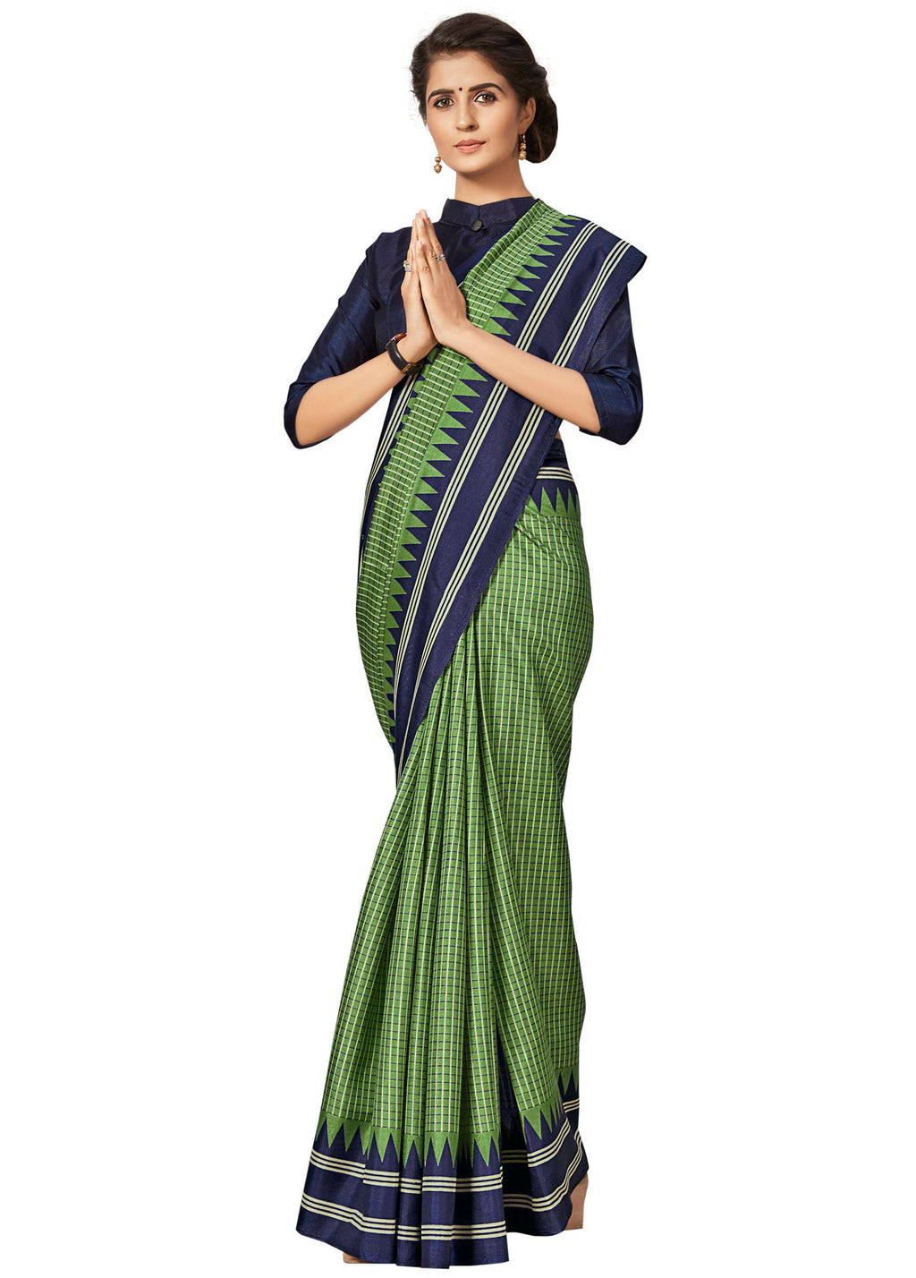 Green Color Crepe Printed Office Wear Sarees NYF-7691