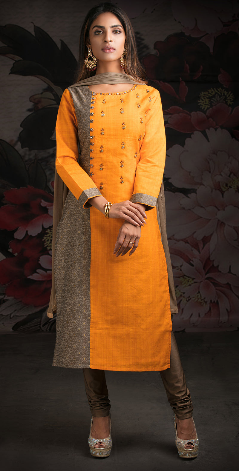 Yellow Color Cotton Silk & Jacquard Readymade Party Wear Straight Suits NYF-9604