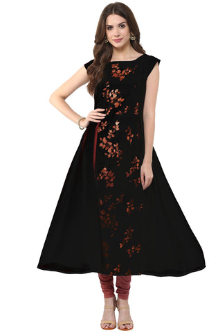 Black Color Crepe Readymade Party Wear Kurtis ( Sizes-36,38,40,42,44): Nirsha Collection  YF-59023