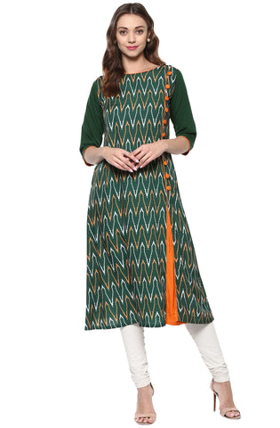 Green Color Crepe Readymade Party Wear Kurtis ( Sizes-36,38,40,42,44): Nirsha Collection  YF-59213