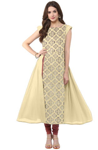 Beige Color Crepe Readymade Party Wear Kurtis ( Sizes-36,38,40,42,44): Nirsha Collection  YF-59238
