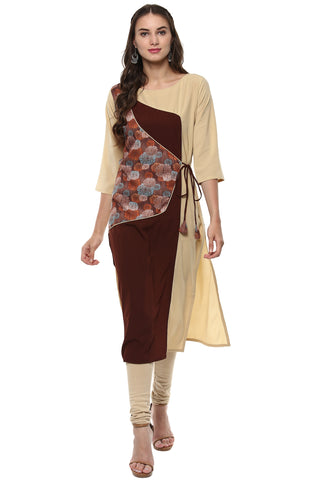 Beige Color Crepe Readymade Party Wear Kurtis ( Sizes-36,38,40,42,44): Nirsha Collection  YF-59263