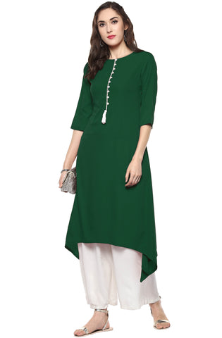 Green Color Crepe Readymade Party Wear Kurtis ( Sizes-36,38,40,42,44): Nirsha Collection  YF-59468