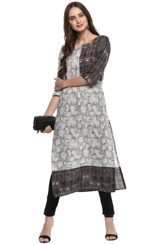Off White Color Cotton Readymade Party Wear Kurtis ( Sizes-36,38,40,42,44): Nirsha Collection  YF-59523