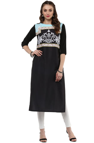 Black Color Crepe Readymade Party Wear Kurtis ( Sizes-36,38,40,42,44): Nirsha Collection  YF-59623