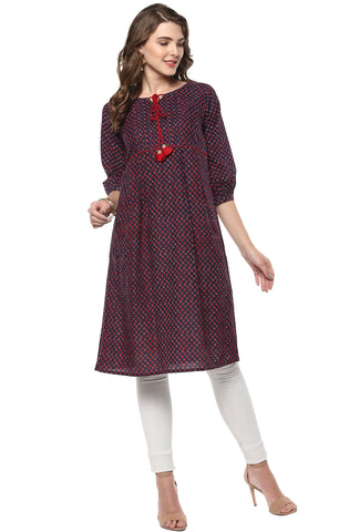 Navy Blue & Red Color Cotton Readymade Party Wear Kurtis ( Sizes-36,38,40,42,44): Pinita Collection  YF-62001