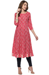 Pink Color Cotton Readymade Party Wear Kurtis ( Sizes-36,38,40,42,44): Pinita Collection  YF-62041