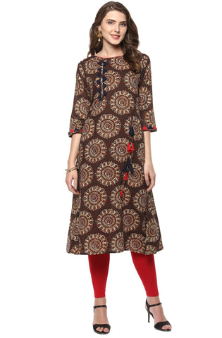 Brown Color Cotton Readymade Party Wear Kurtis ( Sizes-36,38,40,42,44): Pinita Collection  YF-62071