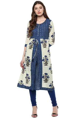 Blue Color Cotton Readymade Party Wear Kurtis ( Sizes-36,38,40,42,44): Parinisha Collection YF-63449