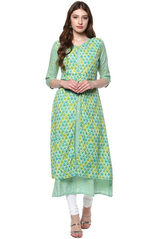 Green Color Cotton Readymade Party Wear Kurtis ( Sizes-36,38,40,42,44): Parinisha Collection YF-63469