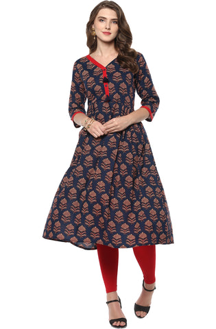 Blue Color Cotton Readymade Party Wear Kurtis ( Sizes-36,38,40,42,44): Vrintesh Collection YF-68141