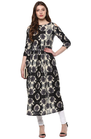 Black Color Cotton Readymade Party Wear Kurtis ( Sizes-36,38,40,42,44): Parinisha Collection YF-63474