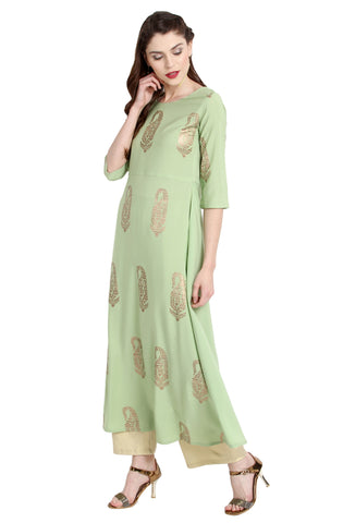 Pastel Green Color Crepe Readymade Party Wear Kurtis ( Sizes-36,38,40,42,44): Viresh Collection YF-64843