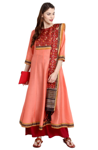 Peach Color Art Silk Readymade Party Wear Kurtis With Dupatta ( Sizes-36,38,40,42,44): Viresh Collection YF-64858