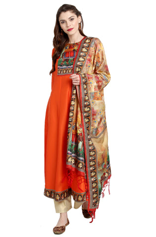 Orange Color Art Silk Readymade Party Wear Kurtis With Dupatta ( Sizes-36,38,40,42,44): Viresh Collection YF-64883