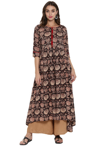 Brown Color Cotton Readymade Casual Party Kurtis ( Sizes-36,38,40,42,44): Parnish Collection YF-68289