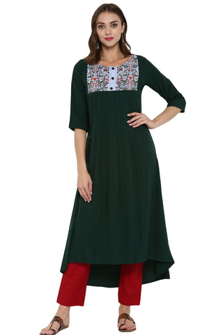 Dark Green Color Crepe Readymade Casual Party Kurtis ( Sizes-36,38,40,42,44): Parnish Collection YF-68349