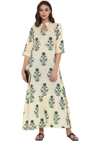 Cream Color Cotton Readymade Casual Party Kurtis ( Sizes-36,38,40,42,44): Parnish Collection YF-68359