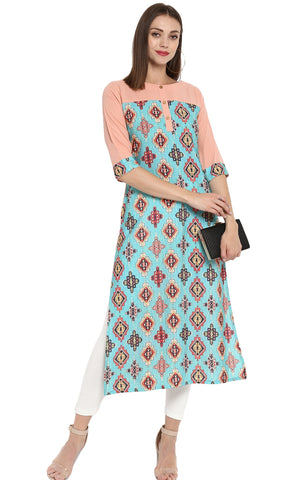 Firozi & Peach Color Crepe Readymade Casual Party Kurtis ( Sizes-36,38,40,42,44): Parnish Collection YF-68389
