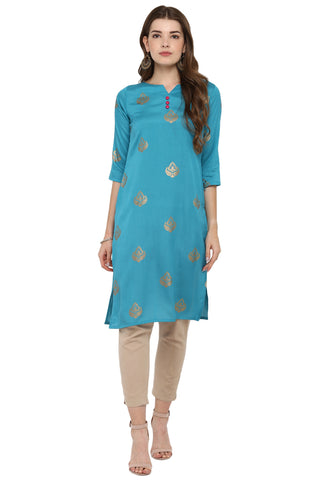 Firozi Color Poly Silk Readymade Casual Party Kurtis ( Sizes-36,38,40,42,44): Armita Collection YF-70084