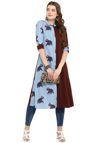 Multi Color Crepe Readymade Casual Party Kurtis ( Sizes-36,38,40,42,44): Armita Collection YF-70129